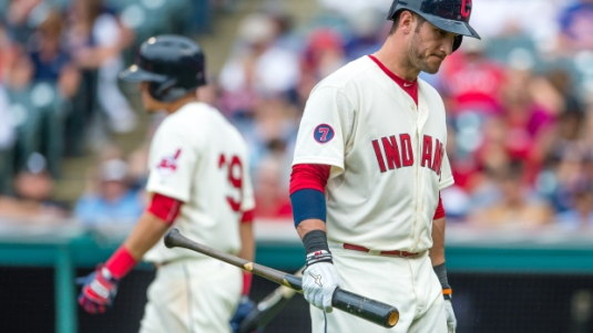 CLEVELAND, OH -  JULY 12: Giovanny Urshela #39 walks to the plate as Yan Gomes #10 of the Cleveland Indians reacts after striking out during the eighth inning at Progressive Field on July 12, 2015 in Cleveland, Ohio. (Photo by Jason Miller/Getty Images)  *** Local Caption *** Giovanny Urshela; Yan Gomes